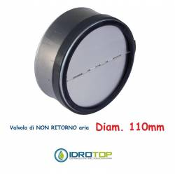Non-return air valve d. 110 for flexible and rigid pipes hot and cold air