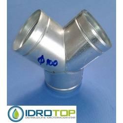 Conector a Y diam. 100 mm distribuidor para aire caliente, frío y ventilación