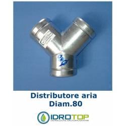 Conector a Y diam. 80 mm distribuidor para aire caliente, frío y ventilación