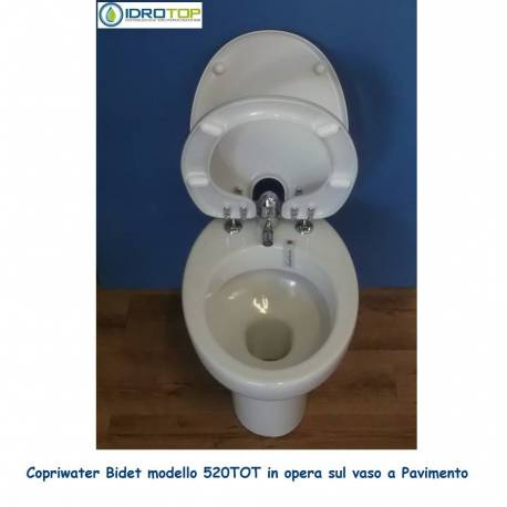 Copriwater Bidet 520 completo di Vaso in Ceramica a Pavimento-Perfetta Compatibilità.
