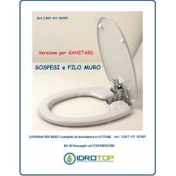 Toilet-seat cover with bidet 520T for suspended WC and flush with the wall - with integrated mixer