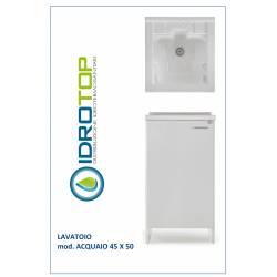 Lavatoio L45xP50 Mod.ACQUAIO completo di ASSE LEGNO-SIFONE-PILETTA