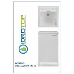 Lavatoio L50xP50 Mod.ACQUAIO completo di ASSE LEGNO-SIFONE-PILETTA