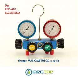 Gruppo Manometrico 4 vie Classe 1 per Gas R32-410 in Glicerina- Idrotop