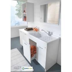 Lavatoio MOBILE Mod.CLEO  L80x50 completo di:asse legno massello,sifone,piletta,vaschetta portasapone