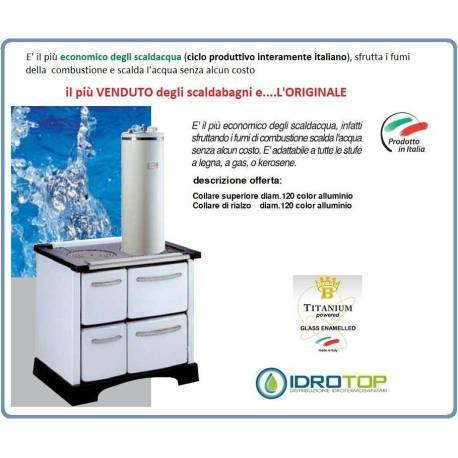 Kit Soprastufa 50lt Bianco Scalda Lu0027acqua Utilizzando I Fumi Della Stufa