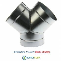 Raccordo a Y diam.160 mm.Distributore per Aria Calda, Fredda e Ventilazione
