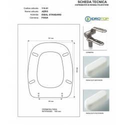 Copriwater Ideal Standard AERO GRIGIO SUSSURRATO Cerniera Cromo-Sedile-Asse Wc