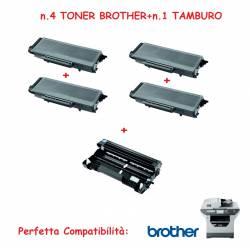 SUPER OFFERTA n.4 TONER TN3170+n.1 TAMBURO per stampante BROTHER MFC Laser