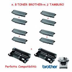SUPER OFFERTA n.8 TONER TN3170 + n.2 TAMBURO per stampante BROTHER MFC Laser