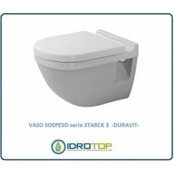 Vaso sospeso Duravit STARCK 3 in Ceramica Compreso di Sedile Copriwater colore Bianco