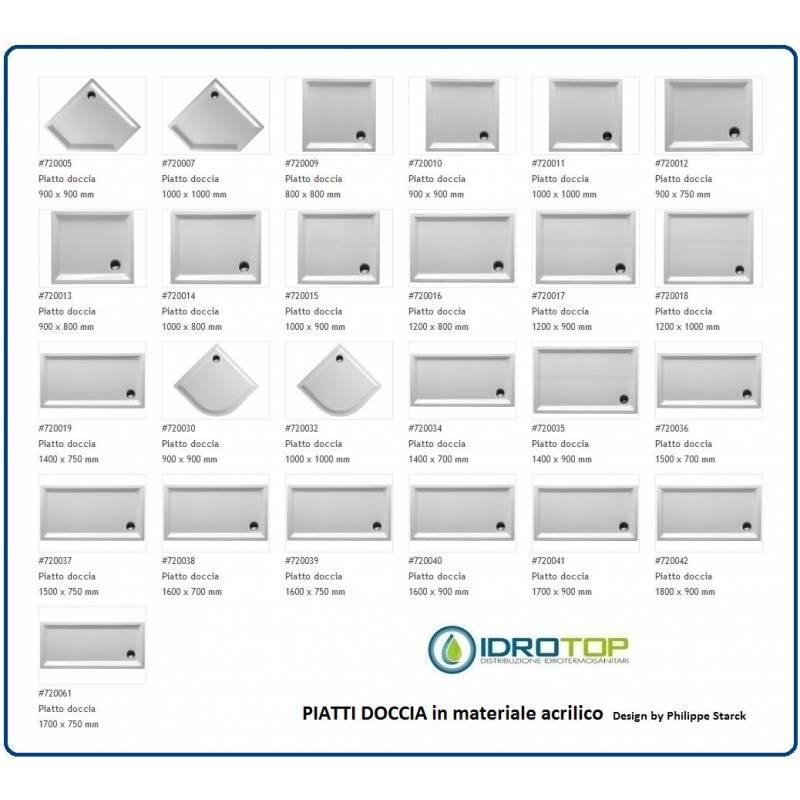 Piatto doccia rettangolare 900x750 cod 720012 starck - Dimensioni doccia standard ...