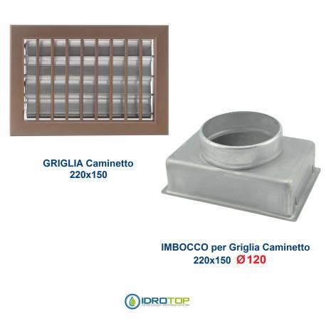 Griglia Bocchetta 22x15cm BRONZO Diam.120mm con Adattatore per Camino