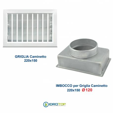 Griglia Bocchetta 22x15cm BIANCO Diam.120mm con Adattatore per Camino