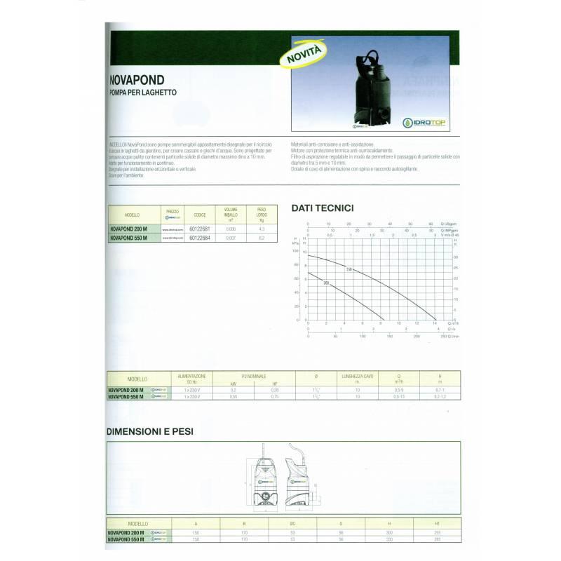 Pompa per ricircolo laghetti novapond 550 for Prodotti per laghetti