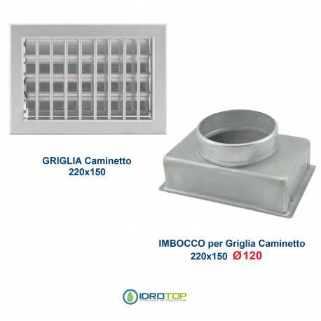Griglia Bocchetta 22x15cm ALLUMINIO Diam.120mm con Adattatore per Camino
