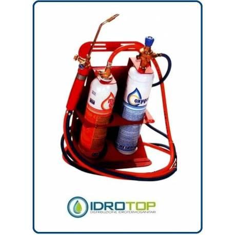 Set di saldatura autogena bi gas con carrello - Carrello porta bombola ossigeno portatile ...