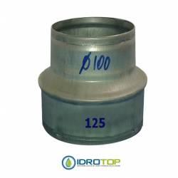 Manicotto Riduzione 125/100-per le Tubazioni flessibili e rigide Aria Calda e Fredda