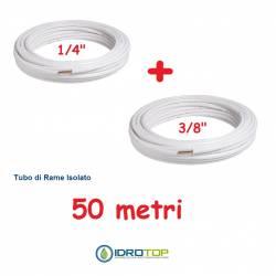Rotolo 1/4+Rotolo 3/8 di Rame isolato 50mt x 0,8mm Climatizzazione Refrigerazione Condizionamento
