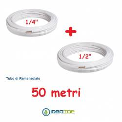 Rotolo 1/4+Rotolo 1/2 di Rame isolato 50mt x 0,8mm Climatizzazione Refrigerazione Condizionamento