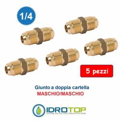 "Kit 5 pezzi Nipplo Raccordo Sae 1/4"" M/M Giunto-Bocchettone a Doppia Cartella"