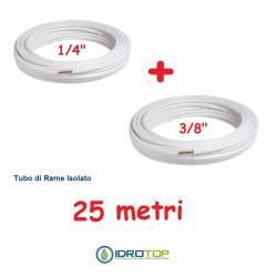 Rotolo 1/4+Rotolo 3/8 di Rame isolato 25mt x 0,8mm Climatizzazione Refrigerazione Condizionamento