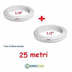 Rotolo 1/4+Rotolo 1/2 di Rame isolato 25mt x 0,8mm Climatizzazione Refrigerazione Condizionamento