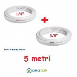 Rotolo 1/4+Rotolo 3/8 di Rame isolato 5mt x 0,8mm Climatizzazione Refrigerazione Condizionamento