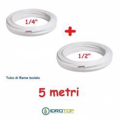 Rotolo 1/4+Rotolo 1/2 di Rame isolato 5mt x 0,8mm Climatizzazione Refrigerazione Condizionamento