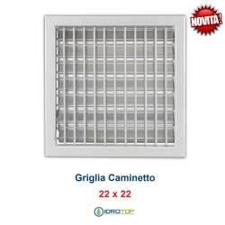 Griglia Bocchetta New Model 22x22cm GRIGIA Regolabile con Serranda per Caminetto