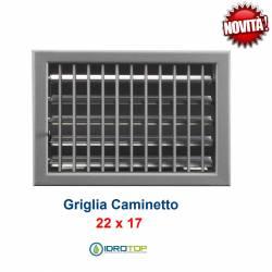 Griglia Bocchetta New Model 22x17cm ALLUMINIO Regolabile con Serranda per Caminetto