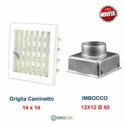 Griglia Bocchetta New Model 14x14cm BIANCA Diam.80mm Regolabile con Serranda per Caminetto