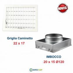 Griglia Bocchetta New Model 22x17cm BIANCA Diam.120mm Regolabile con Serranda per Caminetto