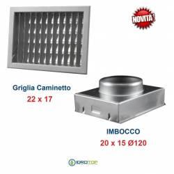 Griglia Bocchetta New Model 22x17cm GRIGIA Diam.120mm Regolabile con Serranda per Caminetto