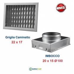 Griglia Bocchetta New Model 22x17cm GRIGIA Diam.100mm Regolabile con Serranda per Caminetto