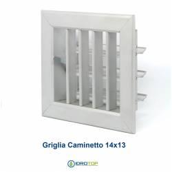 Bocchetta Aria cm14x13 Alluminio-Griglia x Caminetto Regolabile con Serranda