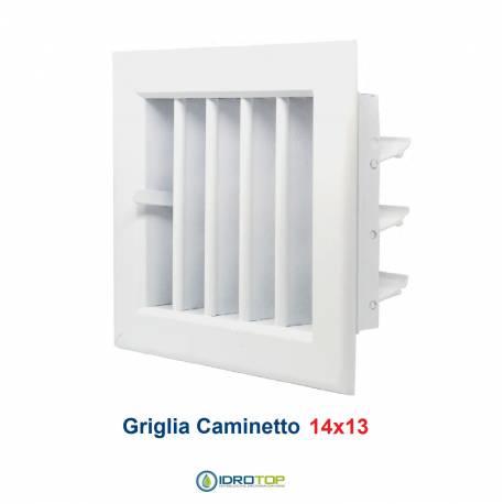 Bocchetta Aria cm14x13 Bianca-Griglia x Caminetto Regolabile con Serranda