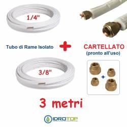 Rotolo 1/4+Rotolo 3/8 di Rame isolato 3mt x 0,8mm Cartellato pronto all'uso.Climatizzazione Refrigerazione Condizionamento