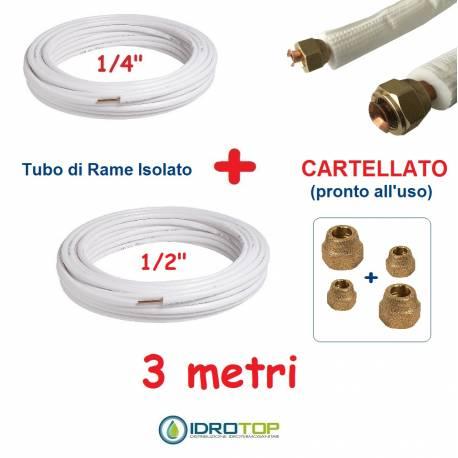 Rotolo 1/4+Rotolo 1/2 di Rame isolato 3mt x 0,8mm Cartellato pronto all'uso.Climatizzazione Refrigerazione Condizionamento
