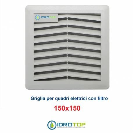 Griglia di Aerazione/Ripresa 150x150mm in ABS con Filtro per Quadri Elettrici
