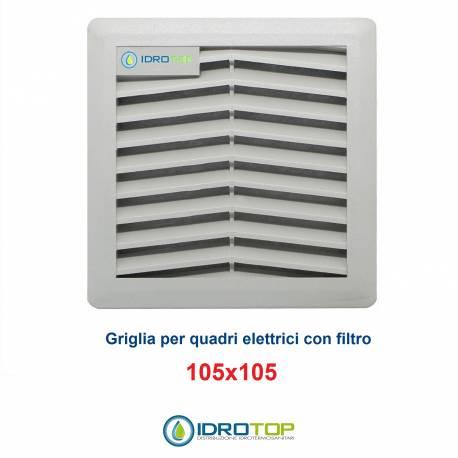 Griglia di Aerazione/Ripresa 105x105mm in ABS con Filtro per Quadri Elettrici