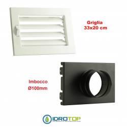 Griglia Bocchetta New Model 33X20 BIANCA Diam.100 Regolabile con Serranda per Caminetto