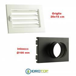Griglia Bocchetta New Model 20X15cm BIANCA Diam.100 Regolabile con Serranda per Caminetto