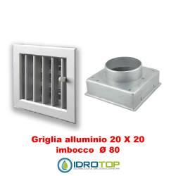 Bocchetta Aria cm20x20 regolabile Alluminio con Adattatore D.80 per Caminetti