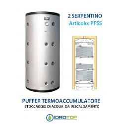 Puffer Accumulo per acqua PFSS a 2 SERPENTINI per Stoccaggio di Acqua per Riscaldamento