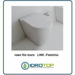 Vaso filo muro Flaminia LINK.I n Ceramica completo di adattatore per Scarico a Pavimento e fissaggio a terra.