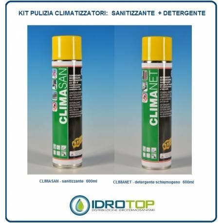 pulizia climatizzatori condizionatori split KIT 600ml: n1 SANITIZZANTE + n1 DETERGENTE facot