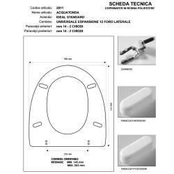 Copriwater Ideal Standard AQUATONDA BIANCO I.S. Cerniera Cromo-Sedile-Asse Wc