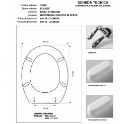 Copriwater Ideal Standard ELLISSE-ELLISSE PIU'' SCOGLIERA Cerniera Cromo-Sedile-Asse Wc