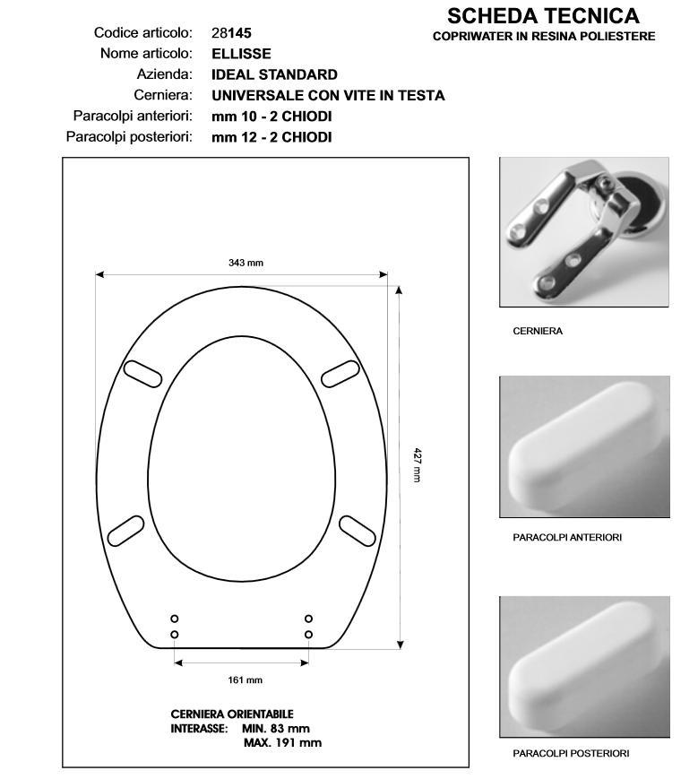 Ideal Standard Diagonal Sedile.Copriwater Ideal Standard Ellisse Ellisse Piu Scogliera